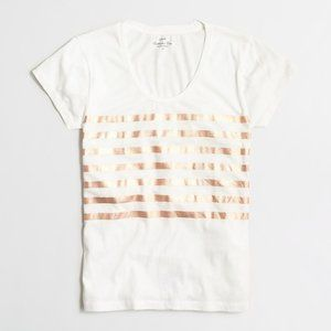 J Crew Metallic Rose Gold Striped Tee